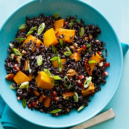 Black Rice with Butternut Squash and Pomegranate Seeds