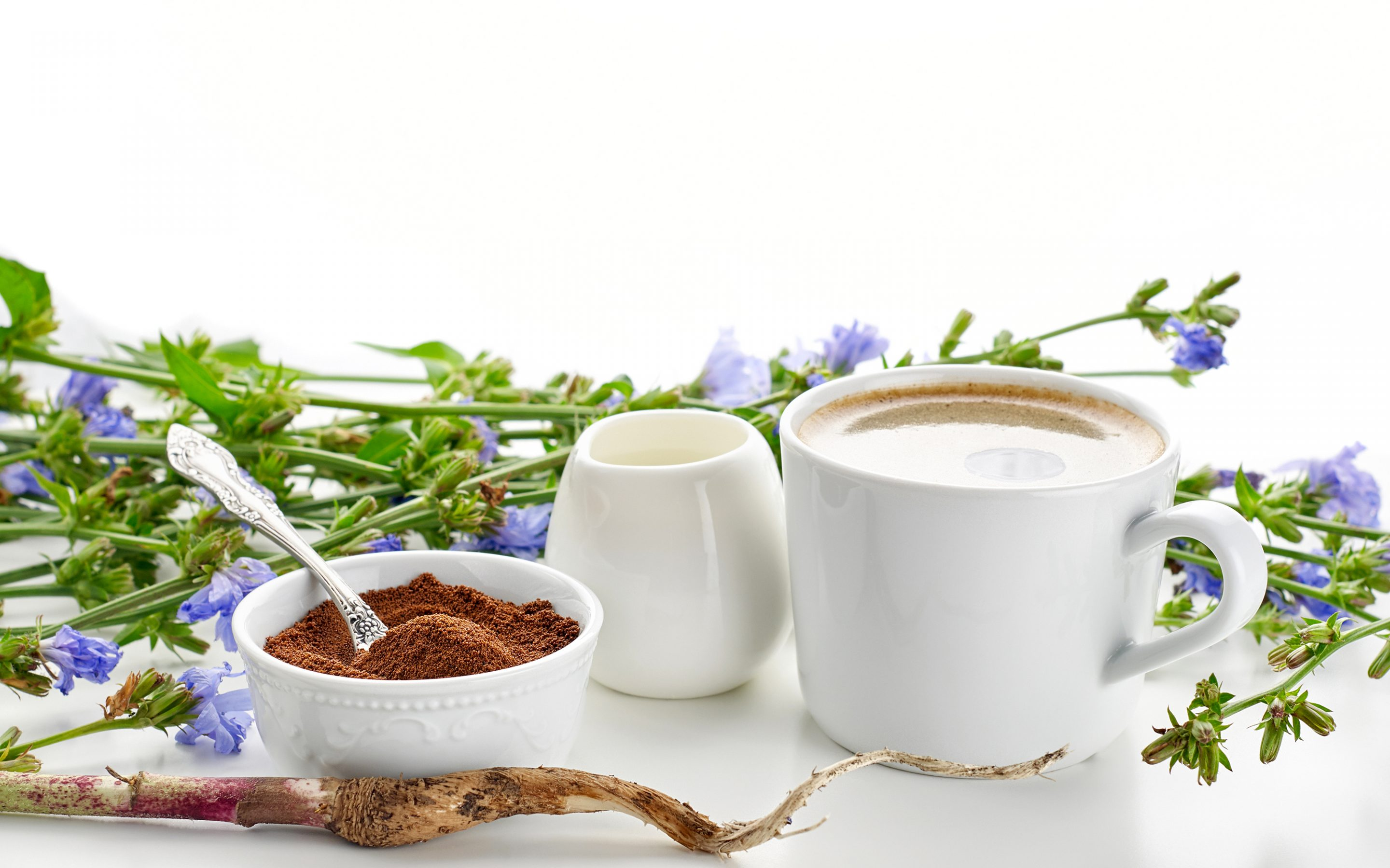 chicory coffee with cream and root