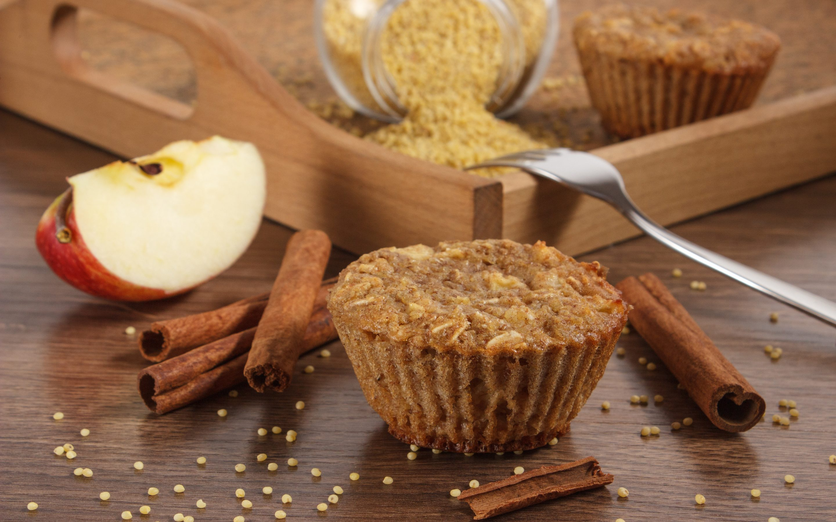 Fresh muffins with millet groats, cinnamon and apple baked with wholemeal flour, delicious healthy dessert