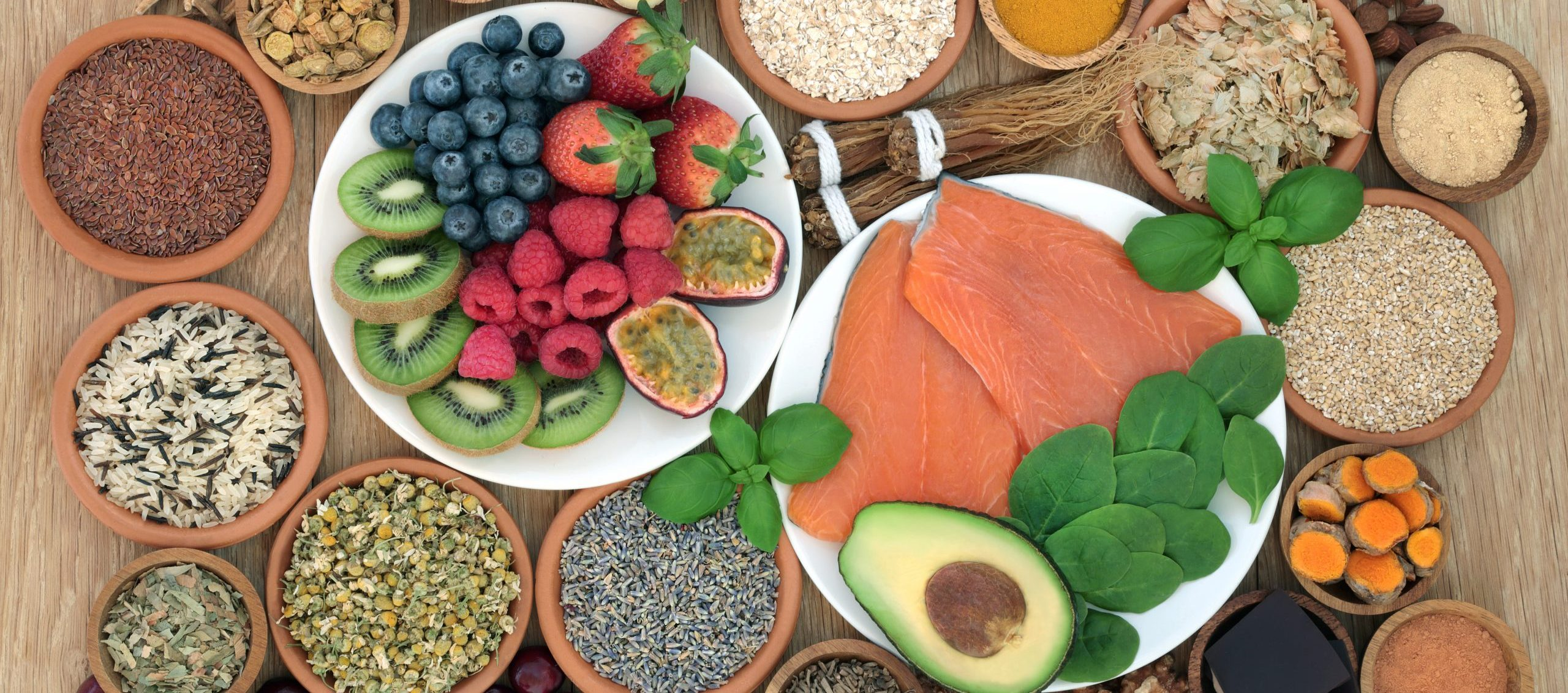Health food selection with herbal medicine to relieve anxiety and stress that also help relaxation, depression and reduce chronic fatigue. High in omega 3, antioxidants, minerals and vitamins.