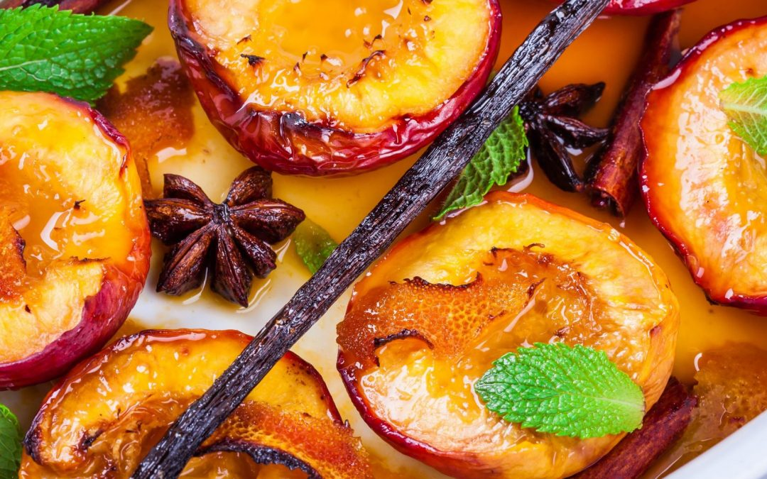 Balsamic Peaches with Creamed Cashews