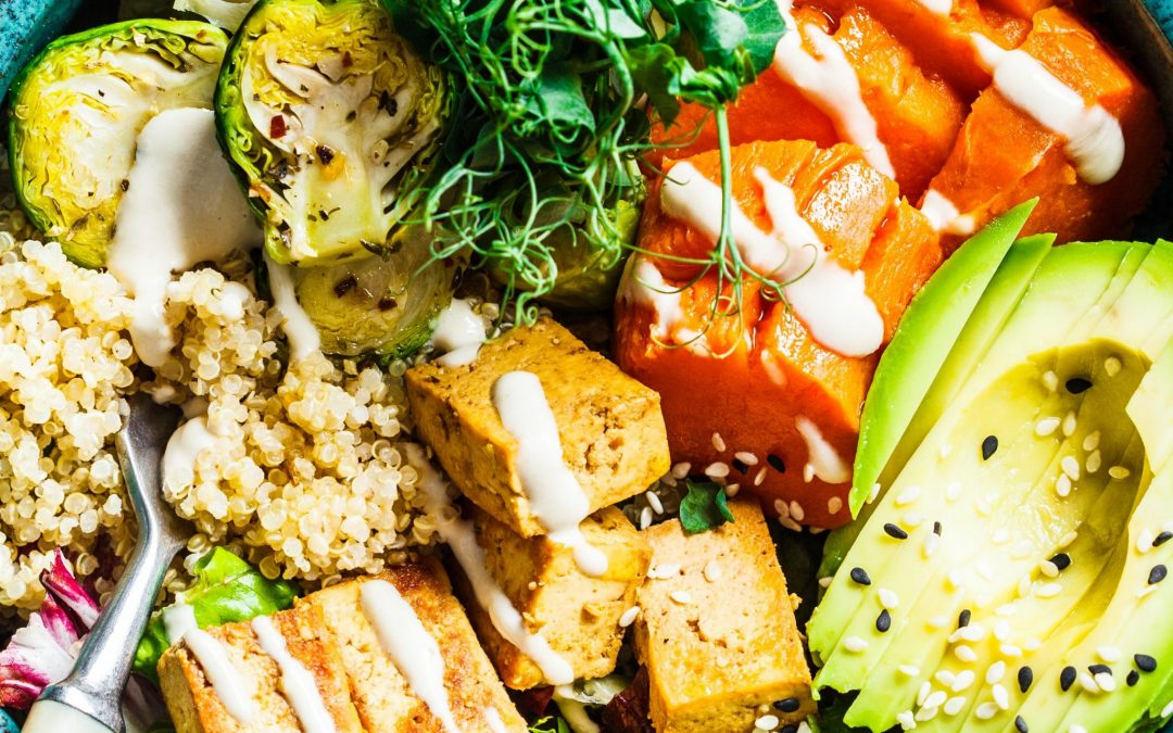 Roasted Veggie and Wild Rice Buddha Bowl with Creamy Lemon Herb Sauce